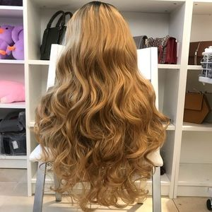 Human hair blend blonde wig